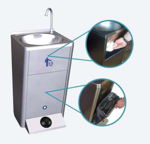 Picture of Portable wash-basin. Made in stainless steel, 450x450x1250mm H