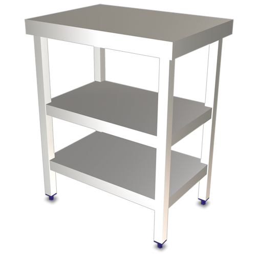 Picture of Central table, constructed in stainless steel, with 2 shelves WxDxH 705x505x853mm