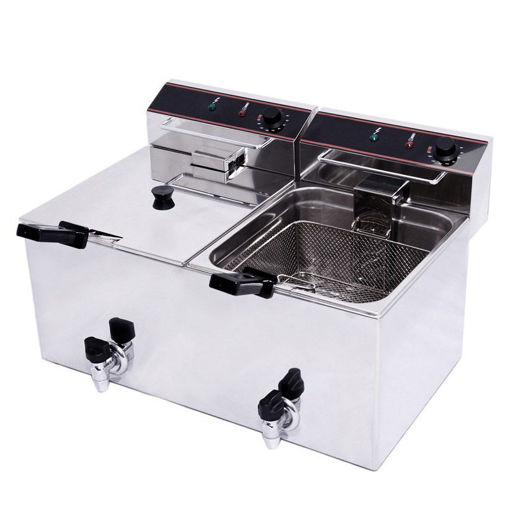 Picture of Electric double fryer with faucet, 10 Lt oil capacity  in each basket